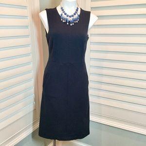 Lands End Navy Ponte Knit Sleeveless Dress, 6